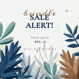 Modello di foglia artigianale di carta in tono invernale per annunci sui social media