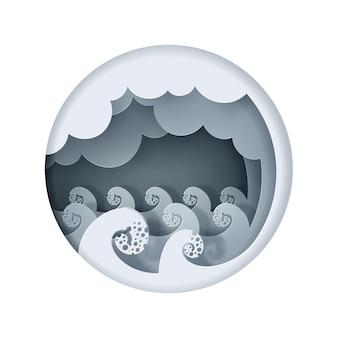 大きな波の海のペーパークラフト