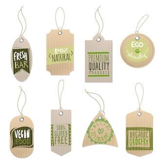 Paper craft shop product tag with sticker printing green design and rope