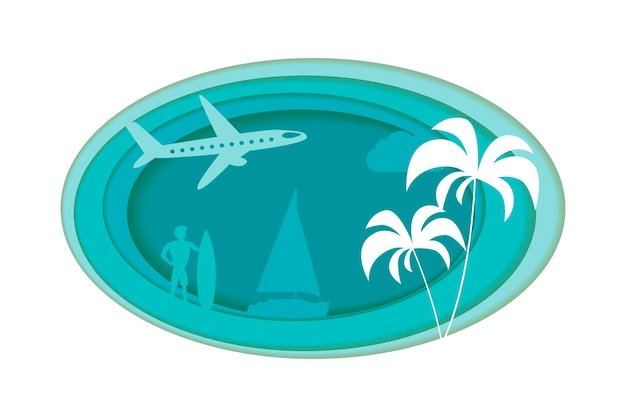 Paper crafted cutout world. concept of summer time, surf board and sea or ocean. vector illustration.