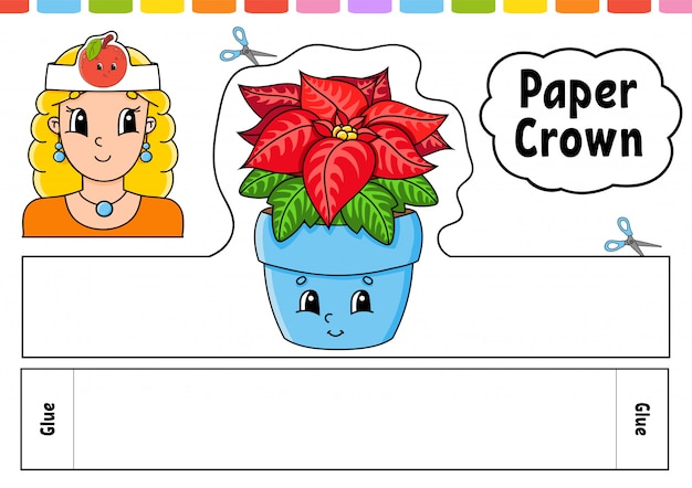 Paper crown template for kids. for games, parties, birthdays, holidays. with a cute cartoon character.