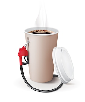 Paper cup of coffee with dispenser. metaphor coffee is power for people.