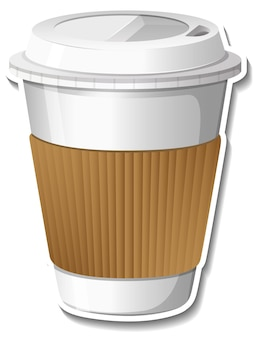 Paper cup for hot drink sticker on white background