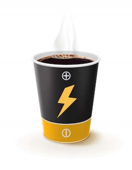 Бумажный стаканчик с кофе как батарейка. метафора кофе - сила для людей. творческие векторные 3d иллюстрации