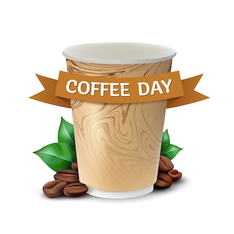 Бумажный стаканчик кофе с листьями и бобами концепция празднования международного дня кофе. иллюстрация, изолированные на белом фоне