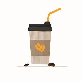 커피와 함께 종이 컵. 흰색 배경에 고립 된 평면 스타일의 귀여운 벡터 일러스트 레이 션
