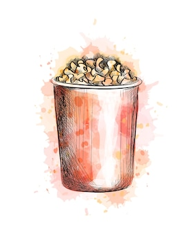 Paper cup with popcorn from a splash of watercolor, hand drawn sketch.  illustration of paints