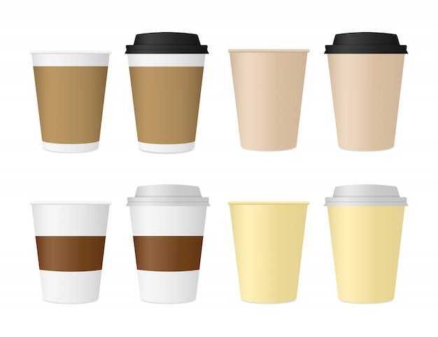 Paper cups for coffee and tea. disposable cups with a lid.