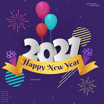 Paper cut 2021 number with colorful balloons