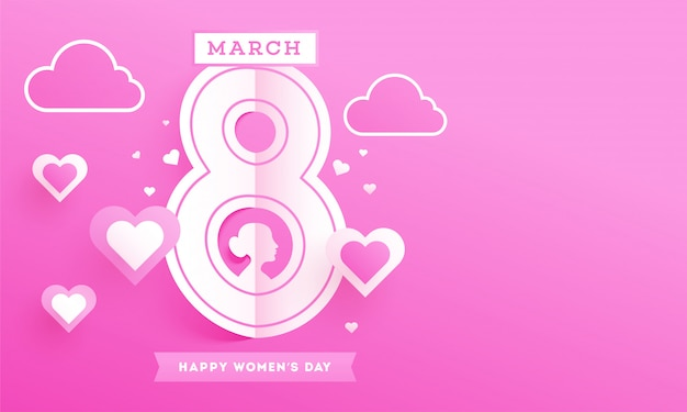 Paper cut 8 march text with female face, hearts and clouds on pink background for happy women's day.