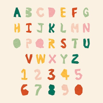 Paper cut alphabet and number typography vector set
