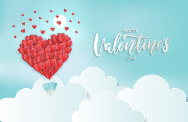 Paper cut art of heart balloon flying under clouds  scattering little heart in the sky. 3d   valentine's day .