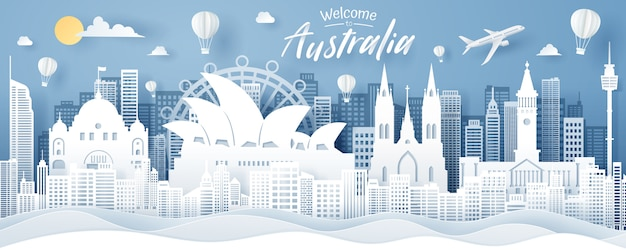 Paper cut of australia landmark, travel and tourism concept.
