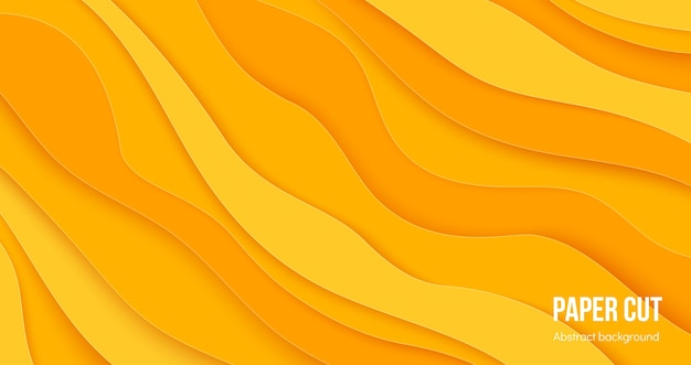 Paper cut background. 3d abstract wave layers, flat origami design