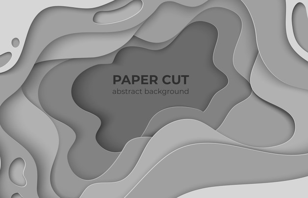 Paper cut background. 3d minimal white beauty wave papercut shapes. vector origami waves cartoon illustration