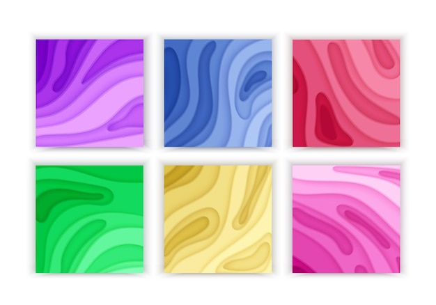Paper cut background set with 3d slime abstract background and green purple colorful waves layers