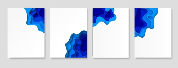 Paper cut banner set. blue waves vertical abstract background flyers or posters, brochures or invitations. simple modern realistic colorful geometric origami water design vector collection