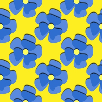 Бумага вырезать синие ромашки бесшовные модели. красивый модный романтический праздничный фон, цветущие 3d цветы. цветочные стильные современные обои текстуры. векторная иллюстрация. нарежьте бумагу.
