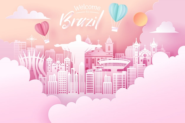 Paper cut of brazil landmark, travel and tourism concept.