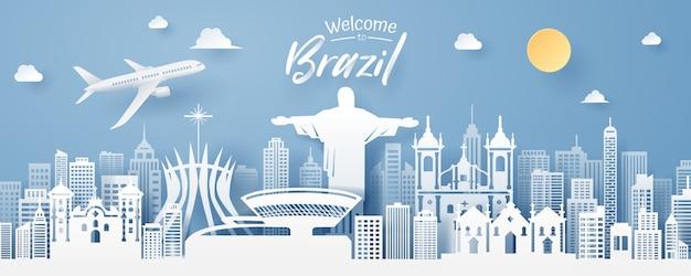 Paper cut of brazil landmark