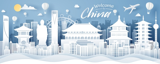 Paper cut of china landmark, travel and tourism concept.