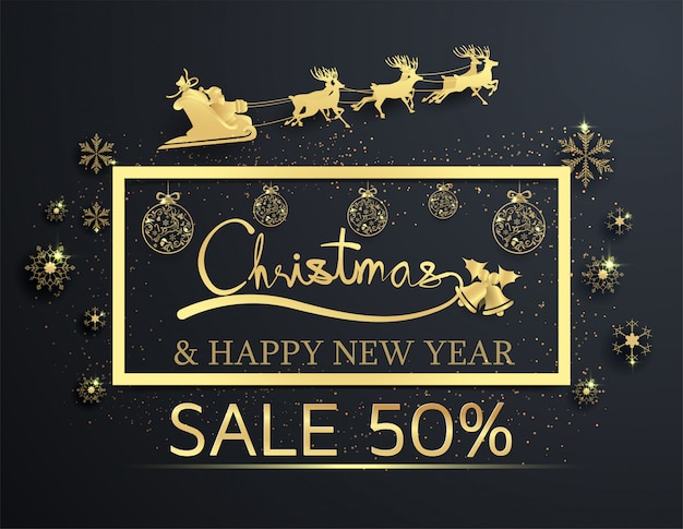 Paper cut christmas sale on black background ,happy new year
