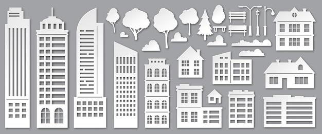 Paper cut city buildings. origami skyscrapers, town houses, village cottages and park trees silhouettes. urban landscape elements vector set. illustration town architectural, tree and cloud