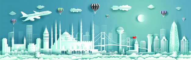 Paper cut cityscape banner with flying plane