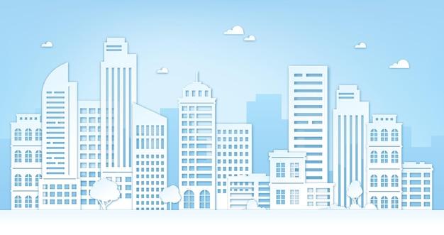 Городской пейзаж вырезки из бумаги. городской пейзаж с небоскребами, зданиями, деревьями, небом и облаками. оригами силуэт концепции вектора городской панорамы. архитектурный небоскреб город, панорама города оригами