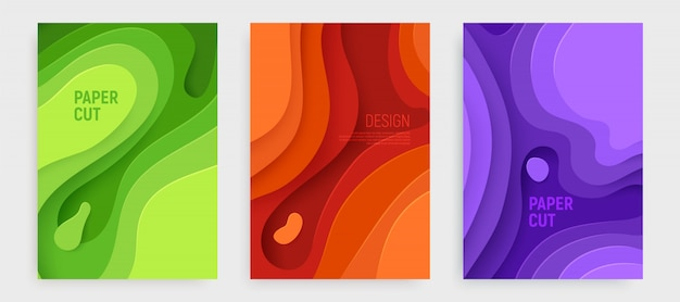 Paper cut cover set with 3d slime abstract green, orange, purple waves layers.