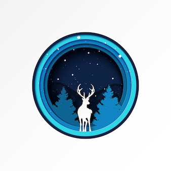 Paper cut of deer and pine forest winter season landscape and christmas  .