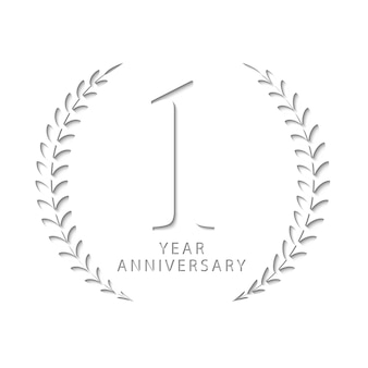 1周年の切り絵デザイン、紙、ベクトルテンプレートである1周年の名前を表す