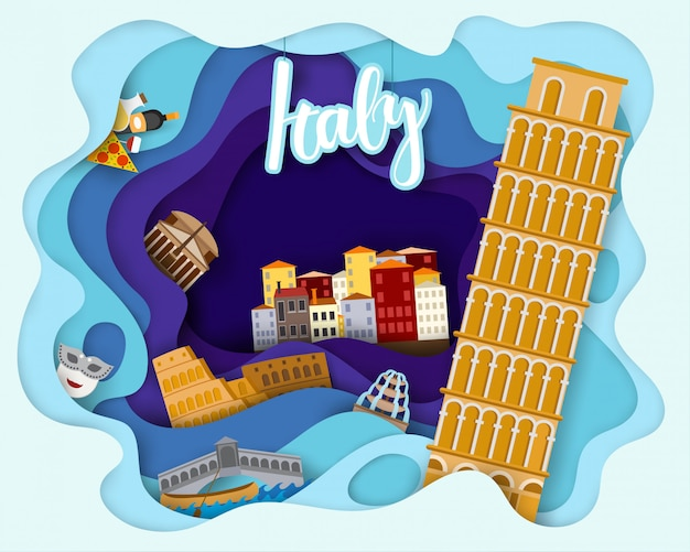 イタリア旅行観光の紙カットデザイン
