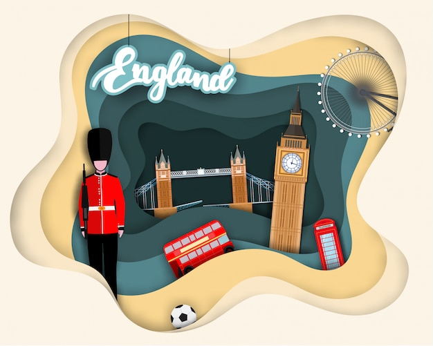 Paper cut design of tourist travel england
