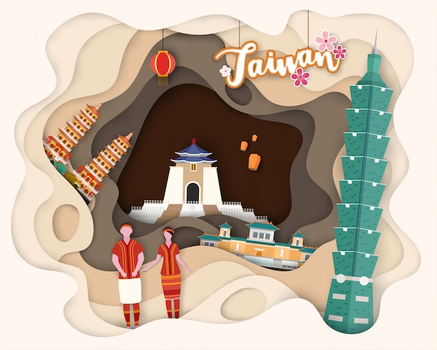 Paper cut design of tourist travel taiwan