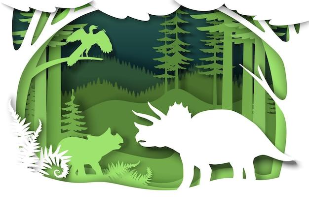 紙カットの恐竜のシルエットと自然の風景。