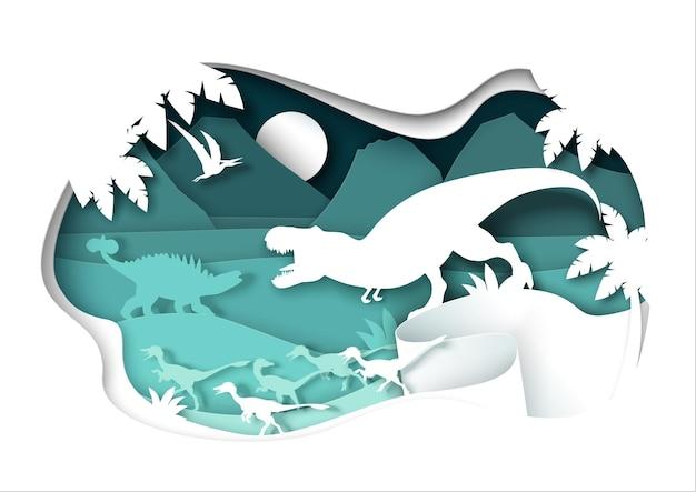 Вырезанные из бумаги силуэты динозавров и природный пейзаж.