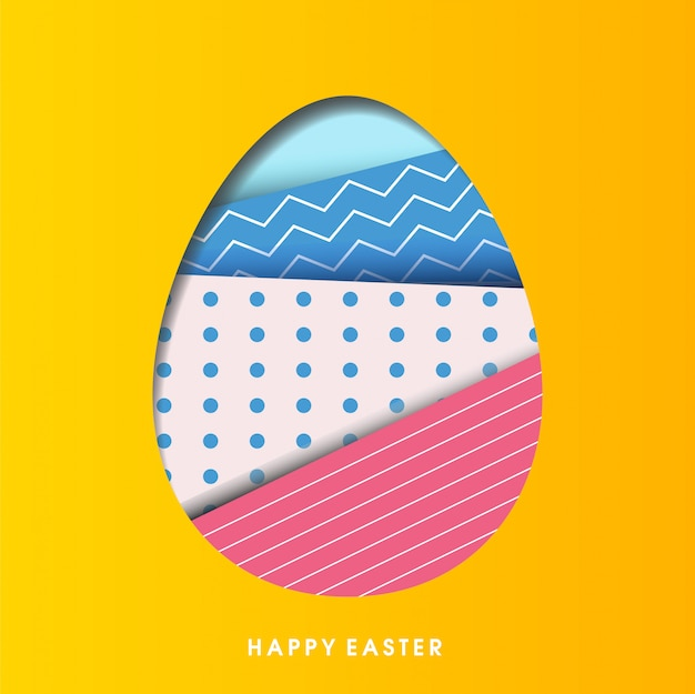 Paper cut easter greeting card
