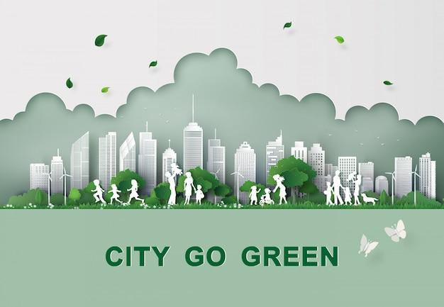 Paper cut of eco concept.