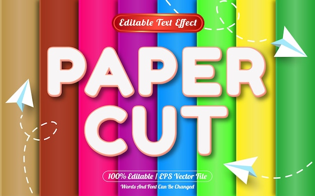 Paper cut editable text effect template style