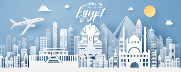 Paper cut of egypt landmark