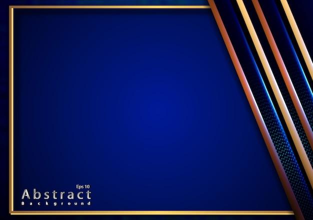 青い金属の質感を持つエレガントなゴールドをカットした紙3d