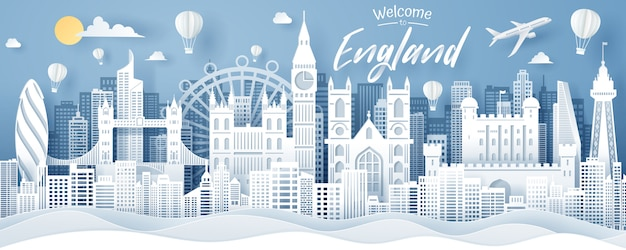 Paper cut of england landmark, travel and tourism concept.