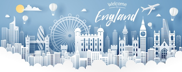 Paper cut of england landmark, travel and tourism  .