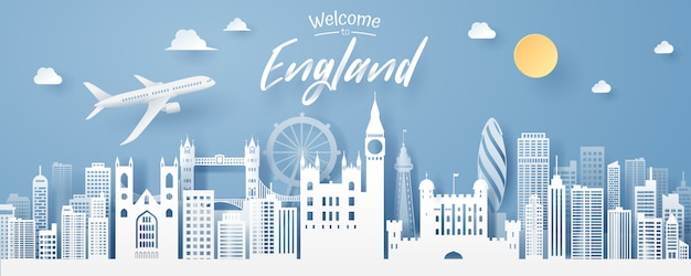 Paper cut of england landmark