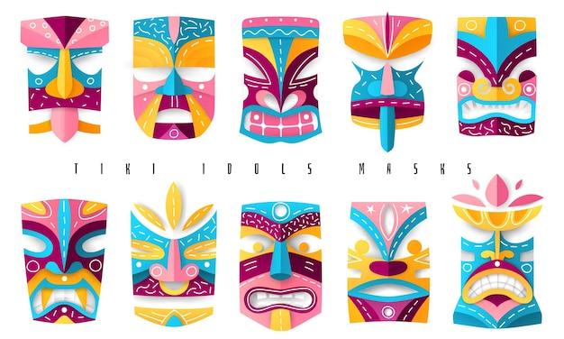 Вырезанные из бумаги этнические древние гавайские маски