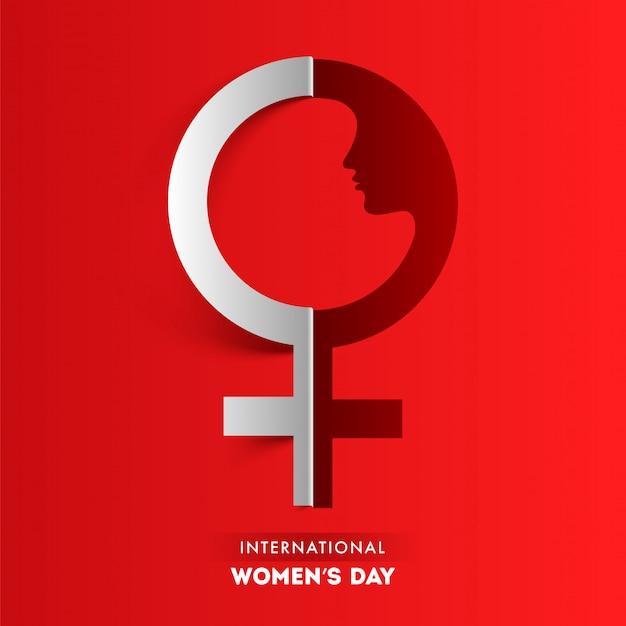 국제 여성의 날에 대 한 빨간색 배경에 종이 잘라 여성 이성애 기호.