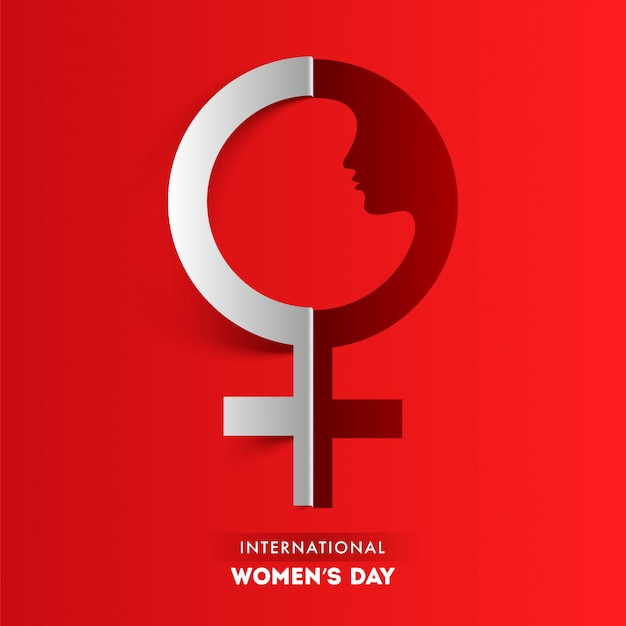Paper cut female hydrosexual sign on red background for international women's day.