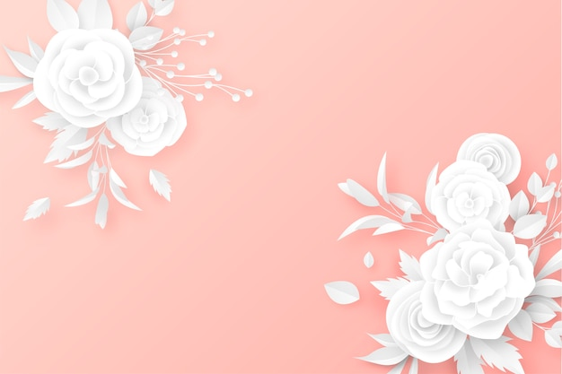 Paper cut floral bouquets in soft color background