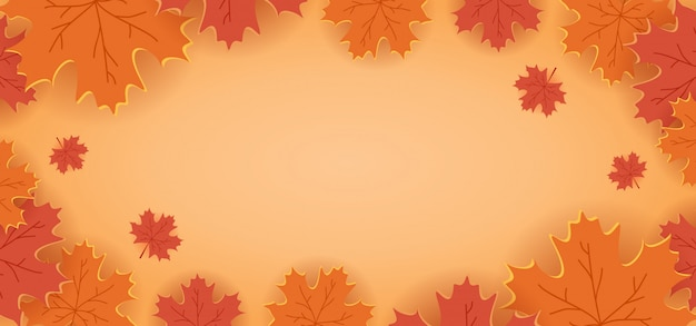 Paper cut floral decoration background with maple leaves orange colors